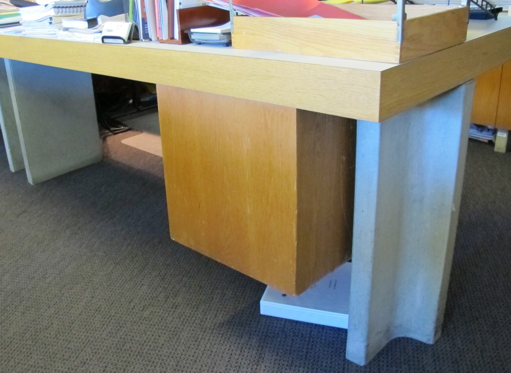 Concrete desk leg