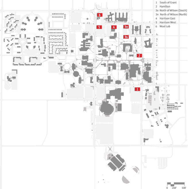 Map of MSU campus with possible building sites